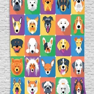 Tapestry Dog Breeds Print Wall Hanging Backdrop